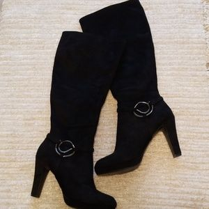 "Shoes - Knee High Sueded Boots 4"" Heel, Wide Calf"